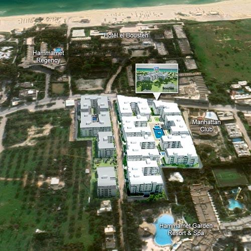 Position géographique du résidence Bousten 2 à Hammamet
